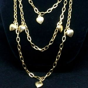 Long Long Gold Chain Heart Dangling Necklace